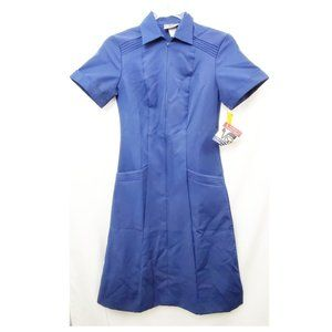 VTG 70s Crest Careers Navy Blue Uniform Dress NWT